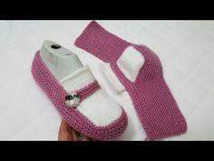 Yeni iki şişle patik modelleri / İki şişle patik modeli / örgü modeli - YouTube Crochet Slippers, Mary Janes, Baby Shoes, Socks, Booty, Knitting, Sneakers, Bags, Clothes