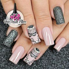 I love the designs on these nails, but not a fan of the shape Elegant Nail Designs, Creative Nail Designs, Creative Nails, Nail Art Designs, Fabulous Nails, Perfect Nails, Gorgeous Nails, Nails Only, Love Nails