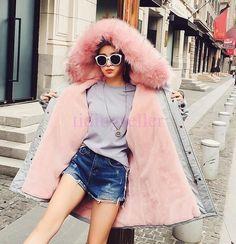 Women's Big Fur Collar Hooded Parka Winter Warm Coat Outwear Jacket S M L Xl