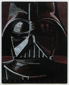 Retratos de personajes de Star Wars hechos con grapas