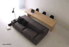 Isolagiorno: A Layout Ideal For Small Spaces - Home decor and design Sofas For Small Spaces, Small Sofa, Small Apartments, Living Spaces, Small Dining, Living Room, Multipurpose Furniture, Multifunctional Furniture, Interior Architecture