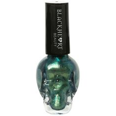 Blackheart Green Gold Glitter Nail Polish | Hot Topic ❤ liked on Polyvore featuring beauty products, nail care, nail polish, nail and hot topic