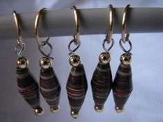 Set of 5 red maroon brown stitch markers by KatKeRosCorner on Etsy, $10.00