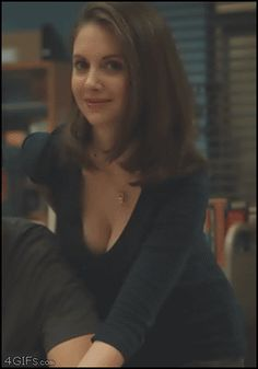 Alison Brie busty in motion | Celebrity Plunge ~ GIF