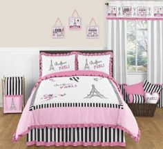 Pink, Black and White Stripe Paris 3 Piece Childrens and Teen Full / Queen French Eiffel Tower Bedding Set Collection Sweet Jojo Designs Paris Themed Bedroom Decor, Parisian Bedroom, Bedroom Themes, Bedroom Ideas, Paris Decor, Bedroom Images, Girls Bedding Sets, Teen Bedding, Queen Comforter Sets
