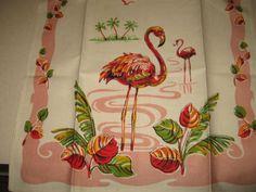 Vintage Pink Flamingoes Tea Kitchen Towel by randomretro on Etsy, $42.00 @ame!!! birthday!!