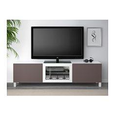 IKEA - BESTÅ, TV bench with drawers and door, white/Valviken dark brown clear glass, drawer runner, soft-closing,