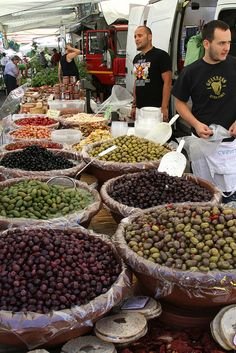 Olives at the Italian Market on the side along with italian salads