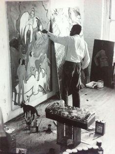Bob Thompson in his studio