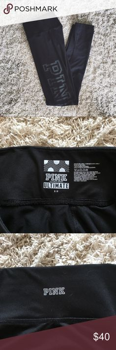 """PINK ultimate yoga leggings black S Condition - like new. Some signs of wet might be showed on the pictures. Smooth fitted leggings. Very cute and solidly black with shiny """"pink"""" letters on left side. PINK Pants Leggings"""
