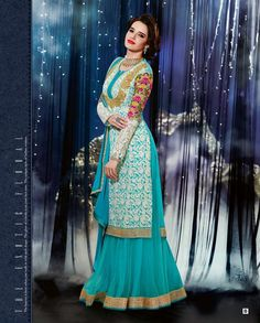 Blue thread embroidered lehenga style anarkali suit   1. Blue embroidered georgette anarkali suit2. Thread embroidered floral pattern kurta3. Blue skirt with golden gota border4. Comes with matching dupatta5. Can be stitched size upto 44 inches