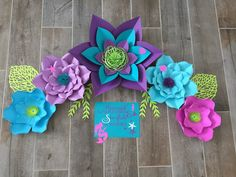 Mermaid inspired set of 5 paper flowers How To Make Paper Flowers, Large Paper Flowers, Backdrop Design, Paper Flower Backdrop, Flower Template, Different Flowers, Flower Making, Design Your Own, Flower Designs