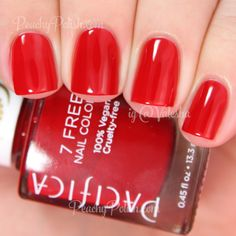 """""""Pacifica: Holiday Red Trio + Heart Of Gold Swatches & Review"""" by Valesha Gracic on Peachy Polish; pictured: """"Cinnamon Girl"""""""