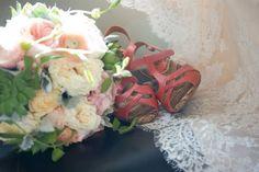 Coral, peach and green garden bouquet - wedding flowers by KP Event Design www.kpeventdesign.com