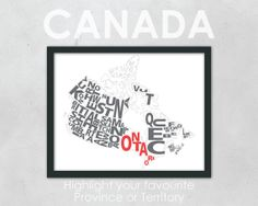 "Typography Map of Canada highlighting your favourite Province - 11 x 14"" Print on Etsy, $20.74 CAD"