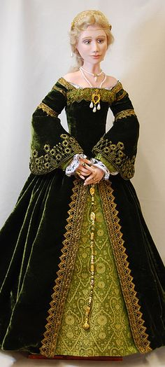 Lady of the Venice Court, 1520 Description: Velvet and brocade open front gown. Bodice with trumpet sleeves, brocade fore sleeves over embroidered chemise. Peach silk petticoat, boned farthingale, silk knit stockings and green suede chopines (high platform shoes typical of the Venice court).  Headdress is an italian coif-a network of gold cords bound together at each intersection and decorated with pearls.