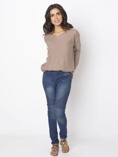 Sale 11% (34.39$) - Casual Women Stretch Pleated High Waist Skinny Jeans