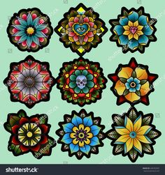 Tattoo Old School Flower American Traditional Ink 43 Super Ideas Traditional Tattoo Images, Traditional Tattoo Flowers, Traditional Ink, American Traditional, Traditional Tattoo Sketches, Traditional Eagle Tattoo, Elbow Tattoos, Rose Tattoos, Flower Tattoos
