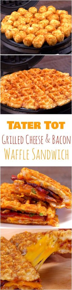 Tater Tot Grilled Cheese & Bacon Waffle Sandwich Recipe Why is this the most amazing grilled bacon and cheddar sandwich ever? Because instead of bread, we used waffles. But not just normal waffles — these are made out of tater tots. Bacon Waffles, Cheese Waffles, Waffle Maker Recipes, Burger Recipes, Sandwich Maker Recipes, Waffle Sandwich, Bacon Sandwich, Grilled Sandwich, Bacon On The Grill