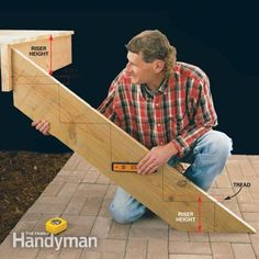 to Build Deck Stairs Calculating the step dimensions, laying out stringers and building a sturdy set of deck stairs.Calculating the step dimensions, laying out stringers and building a sturdy set of deck stairs.