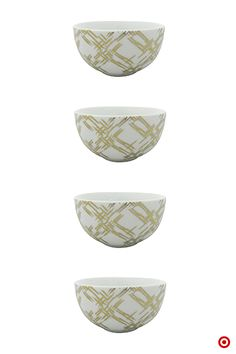 There is always room for dessert! And, with these gold Nate Berkus plaid dessert bowls there is always room for a little—or a lot—of luxe! The gold plaid pattern is an easy way to bring a fun trend to your table.