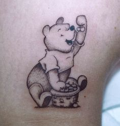 Considered to be the most popular bear ever, Winnie the Pooh is known throughout the world. Winnie the Pooh, also known as Pooh Bear, was created by A. Winnie the Pooh made his debut in appearing in poems and short stories. Badass Tattoos, Body Art Tattoos, Girl Tattoos, Nerdy Tattoos, Tattoo Art, Tattoo Quotes, Winnie The Pooh Tattoos, Teddy Bear Tattoos, Disney Sleeve