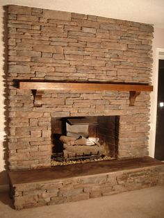Decoration Ideas, Inspiring Rock Stone Fireplace Design With Wood Shelf For Mantel With Chic Concrete Floor: 33 Wonderful Stone Corner Fireplace Ideas