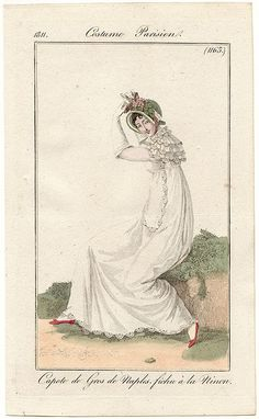 White gown and fichu 1811 Costume parisien