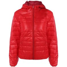 Red XL Topstitching Textured Hooded Quilted Jacket (€5,96) ❤ liked on Polyvore featuring outerwear, jackets, quilted hooded jacket, red hooded jacket, hooded jacket, red quilted jacket and textured jacket
