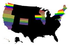 Bright colors = same sex marriage, dull rainbows = civil partnership/union... still pretty dark and scary all around.