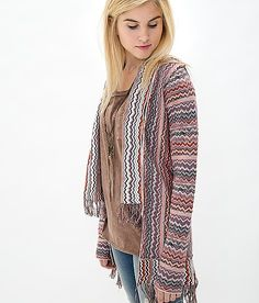 Gimmicks by BKE Reverse Print Cardigan Sweater $73 Buckle