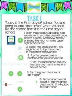 Thanks to Seesaw Ambassador Sara Connell for sharing these task cards! Get the cards! Beginning Of The School Year, First Day Of School, Viria, Teaching Technology, Technology Lessons, Digital Technology, Teaching Resources, Seesaw App, Teacher Tools