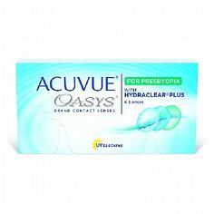 Acuvue Oasys for presbyopia helps your eyes see from any distance. Try Acuvue Oasys contact lenses for presbyopia and buy directly from Vision Direct online. Read the benefits of using Acuvue Oasys for presbyopia with HYDRACLEAR for people with dry eyes.