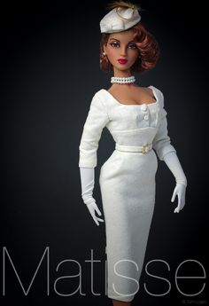 """Matisse ivory dress 4 - Posted by Tom in CA on 6-14-2015. Tom says """"JS Violet models this lovely ensemble by Brenda of Matisse Fashions. Wig by Ilaria. Enjoy!"""""""