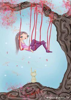 Colgada, es el título de esta ilustración que describe la sensación de soledad feliz. $13  Size A5 (15X20 cm) the frame included.