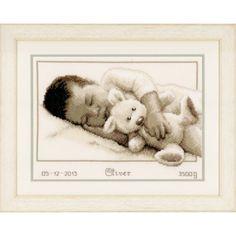 Borduurpakket Geboortetegel baby met knuffel: Oliver - De Spinnerij borduurpakketten