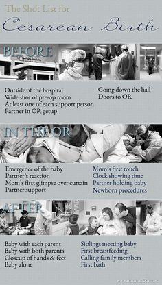 Cesarean Birth Photography Shot List