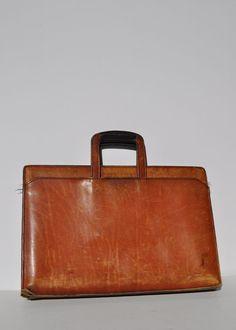 SCHLESINGER leather bag belting satchel attache tote briefcase tote. $65.00, via Etsy.