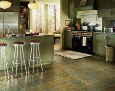 Vinyl flooring, slate tile look