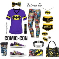 """""""Comic-Con Batman Fan Inspired Outfit"""" by fandom-inspired-fashion on Polyvore. Comic-Con for the #Batman Fan. Comic patterned leggings, wallet, shoes and coffee cup. Classic shirt, earrings, necklace, lip balm, underwear and handbag. Tang Top, Batman Outfits, Patterned Leggings, Twenty One Pilots, The Twenties, Active Wear, Underwear, Batman Stuff, Comic Books"""