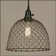 Amazon.com: Chicken Wire Dome Pendant Light in Primitive Rust: Lamps & Light Fixtures (kitchen)