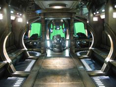 Fi Sci Spaceship Interior   Shuttle interior look out to green screen