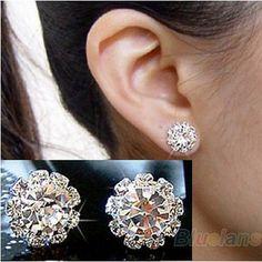 FASHION spherical Crystal Flower Stud Earrings