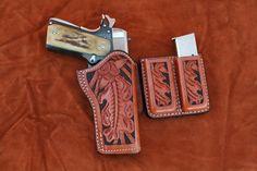 Rowe's Leather Goods 1911 .45 Automatic and Magazine Holder Elegantly Tooled Leather