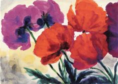 Five Poppies ~ Emil Nolde | Lone Quixote | #EmilNolde #nolde #expressionism #art #painting #watercolor #flowers