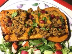 Butternut squash stuffed with spicy mince and couscous, syn free, filling and tasty