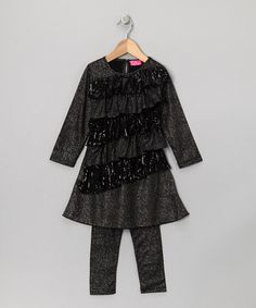 Look what I found on #zulily! Black Sequin Ruffle Tunic & Leggings - Infant, Toddler & Girls #zulilyfinds