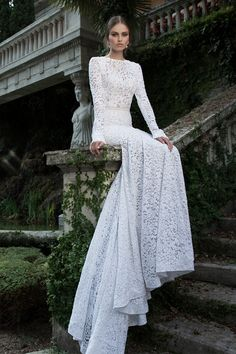 Check out the gorgeous detail on this amazing #gown ...love the long #lace sleeves! {Berta Bridal}