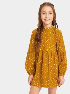 Shop Girls Tied Open Back Polka Dot Smock Dress online. SHEIN offers Girls Tied Open Back Polka Dot Smock Dress & more to fit your fashionable needs. Girls Smocked Dresses, Little Girl Dresses, Nice Dresses, Little Girl Fashion, Kids Fashion, Fashion Outfits, Fashion Fashion, Coco Moda, Kids Outfits