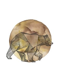 Geometric bear tattoo design.